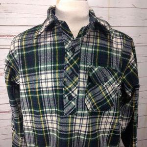 Vtg Trapper Pullover Green Plaid Wool Blend USA